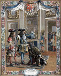 Le Roy Louis XIV proclame le Duc D'Anjou Roy D'Espagne le 16 Novembre 1700.