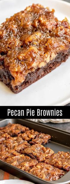 Pie Brownies are a rich, chocolate and pecan pie Thanksgiving dessert reci. Pecan Pie Brownies are a rich, chocolate and pecan pie Thanksgiving dessert reci.Pecan Pie Brownies are a rich, chocolate and pecan pie Thanksgiving dessert reci. Pecan Recipes, Brownie Recipes, Baking Recipes, Sweet Recipes, Cookie Recipes, Pie Recipes, Low Sugar Pecan Pie Recipe, Brownie Deserts, Jello Deserts