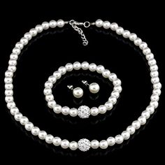 14KT High Quality white gold plated white Zircon Necklace Earring bracelet Pearl Jewelry Set