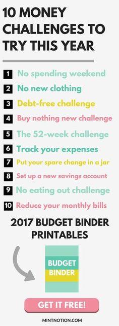 Money challenges. Free budget binder printables. Save money