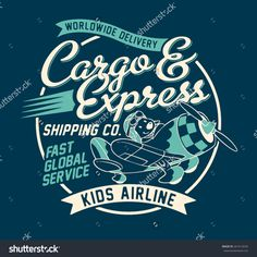 Cargo and express shipping company, Cute vector artwork for children wear,