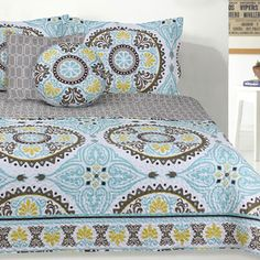 5-Piece King Toluca Microfiber Quilt Set in Teal Multicolor