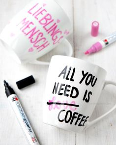 DIY: Tassen mit Porcelain Painter bemalen | All you need is Coffee | Lieblingsmensch | waseigenes.com