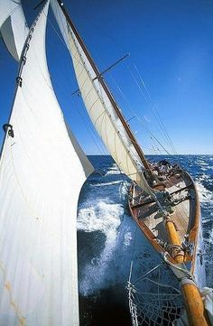 Life by the sea, blue ocean, blue skies and a sailing boat. Classic Yachts, Classic Boat, Yacht Boat, Sail Away, Set Sail, Am Meer, Wooden Boats, Tall Ships, Water Crafts
