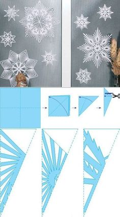 Learn how to make snowflakes from paper – diy paper & origami Paper Snowflake Template, Paper Snowflake Patterns, Paper Snowflakes, Christmas Snowflakes, Christmas Ornaments, Christmas Tag, Christmas Crafts For Kids, Holiday Crafts, Christmas Decorations