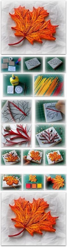 quilling a maple leaf