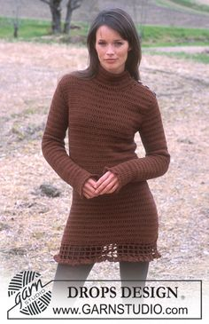 "DROPS 91-27 - DROPS Gehäkeltes Kleid in ""Karisma Superwash"" - Free pattern by DROPS Design"