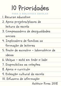 António Pires - Prioridades para a biblioteca escolar Reading Worksheets, School Libraries