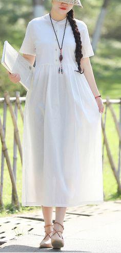 e52c9ec2699 Style white linen quilting dresses tie waist Robe summer Dresses