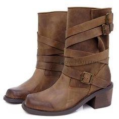 Womens Cuban Retro Multi Buckle Roman Riding  Fashion Ankle Boots Shoes