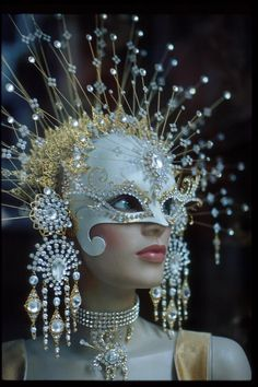 white mask with crystals
