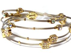 Silver & Gold Whispers Bracelet, Wire Bracelet, Designer Inspired with Rhinestones