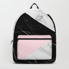 pink black and white geometric marble Backpack by matteandmarble Cute Backpacks For School, Cute School Bags, Cute Mini Backpacks, Girl Backpacks, Mini Backpack Purse, Backpack For Teens, Marble Backpack, Spiked Leather Jacket, Mochila Jansport