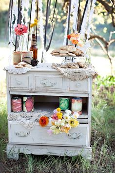 Vintage Dresser with Florals - Note missing drawer for shelf -  Cookies and Pies in Jars | Fabulously Wed: Engagement Session | Vintage Films