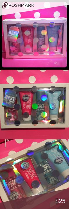 Victoria's Secret PINK Gift Set PINK Fresh and clean body mist and body lotion. Wild and breezy body mist and body lotion. Brand new PINK Victoria's Secret Accessories