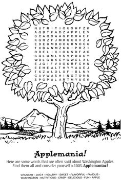 Apple themed word search puzzle from Making Learning Fun