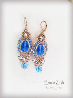 Earrings micromacrame.Boho earrings style.Macrame work earrings. Blue beads macrame earrings. Macrame weaving jewelry.Chandelier earring
