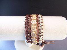 Copper and Beige Flower Triple Wrap Leather Bracelet