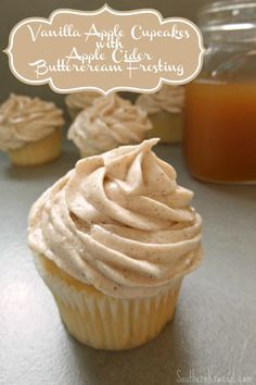 these Vanilla Apple Cupcakes with Apple Cider Buttercream Frosting remind me so…