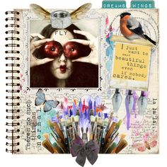 An art collage from January 2013 Journal Pages, Collage Art, Wings, Artwork, Polyvore, How To Make, Beautiful, January, Design