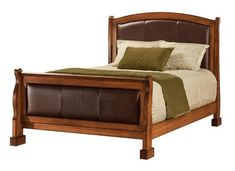 Amish Berlin Leather Panel Bed Luxurious, eye catching, comfy and more! Amish beds come in all styles. Customize with choice of wood, stain, upholstery and more.