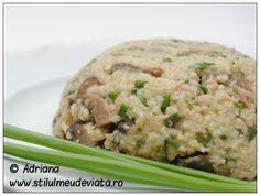 pilaf de mei cu ciuperci Raw Vegan Recipes, Vegan Food, Healthy Food, Healthy Recipes, Risotto, Ethnic Recipes, Healthy Foods, Veggie Food, Vegan Meals