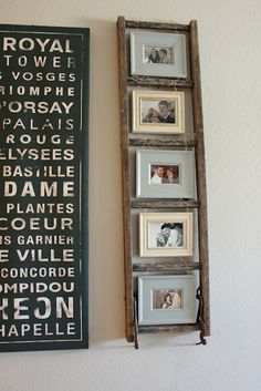 old wooden ladders repurposed as home decor love it a few of these have caught my eye love the use of the ladder as a picture frame holder and