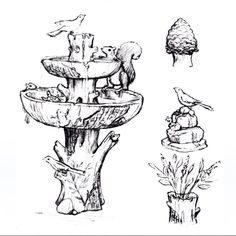 Did you know each Bernini Fountain is an artist original design? Here's the first drawing of our Rechargeable Woodland Animal Fountain! Find the finished outcome exclusively at @QVC!