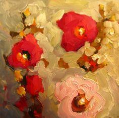 """DEEP PINK""  by NM artist DeeSanchez - sweet hollyhocks against a warm adobe background, painting by artist Dee Sanchez"