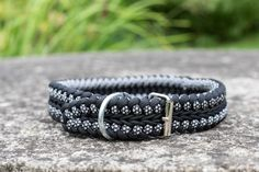 Braided black and white paracord dog collar, Collar and leash set, Black dog collar, Pet collar, Gift for dog
