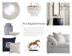 """New England Coastal Inspired Interior"" by canvas-moods ❤ liked on Polyvore featuring interior, interiors, interior design, home, home decor, interior decorating, Authentic Models, Andrew Martin, Lene Bjerre and Jayson Home"