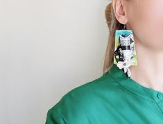Contemporary paper art earrings with paint tube and lace / Weird large earrings / Hand painted dangles / Quirky earrings / Artist earrings Ruff Collar, Paint Tubes, Paper Earrings, Cute Fashion, Lace Detail, Jewelry Art, My Design, Dangles, Weird