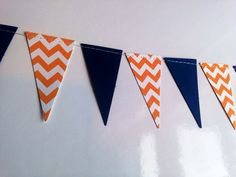 Navy and Orange and White Chevron Paper Pennant Garland Birthday Party Decor, Baby Shower Decor, Nursery Decor, Wedding Etc!