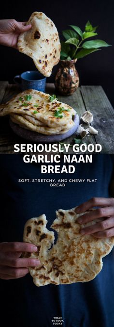 Seriously GOOD Homemade Garlic Naan - Homemade garlic naan that is so soft, stretchy, and garlicky that you will love tearing and can't stop eating these naans. My kids go crazy with these naan bread.