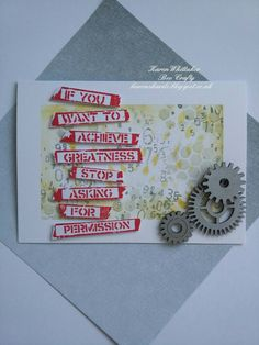 Inspired by Banksy stamps from Bee Crafty  #beecraftystamps #dtsample #inspiredbybanksy #inkables #backdropstamps #cogs #gildingwax #distressoxides #stamps #stamping #card #creative