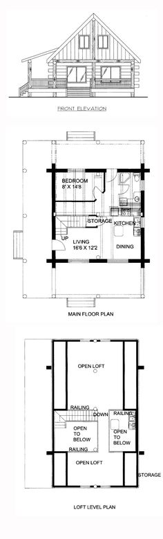 House Plan 87144 - Country, Log Style House Plan with 1236 Sq Ft, 1 Bed, 1 Bath Log Home Kits, Log Home Plans, House Plans, Small Log Homes, Small Houses, Log Home Builders, Types Of Houses, Cabins, Future House