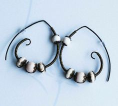White Magnesite Antique Bronze Wire Wrap Unique Handmade Spiral Hoop Earrings