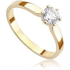Pierścionek zaręczynowy z brylantem z żółtego złota P0207ZB