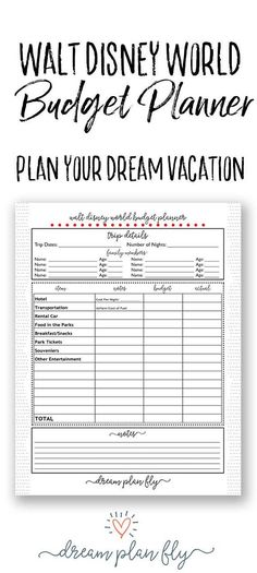 Plan your dream vacation with this Walt Disney World Budget Planner. Determine how much money you are able to spend on a Disney Dining Plan, a Walt Disney World Resort, Disney World Park Tickets, and more with this simple, printable worksheet. This spreadsheet will help you create a Disney vacation on a budget.  - Create Your Own Printable Walt Disney World Planner. Dream Plan Fly