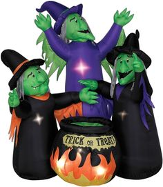 this witches and cauldron animated airblown prop features three witches standing over a fiery cauldron with the words trick or treat - Blow Up Halloween Decorations