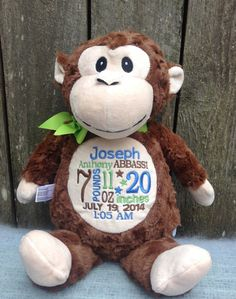 Baby gift monogrammed monkey birth announcement personalized by personalized baby gift monogrammed monkey birth announcement personalized by world class embroidery negle Images