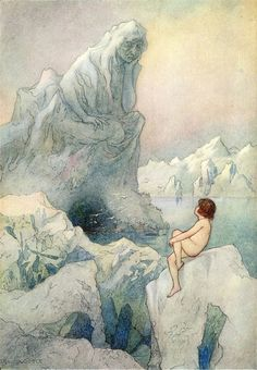 The water-babies - a fairy tale for land-baby' by Charles Kingsley; with illustrations in colour by Warwick Goble. Published 1909 by Macmillan & Co Art And Illustration, Book Illustrations, Arte Elemental, Warwick Goble, Art Moderne, Golden Age, Art Inspo, Childrens Books, Fantasy Art