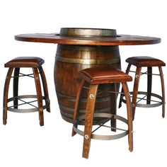 The Wine Barrel Bistro Table Set features our most popular bar table with 4 matching bar stools. The table is handcrafted from an actual wine barrel and features an attached wrap-around wood bar.