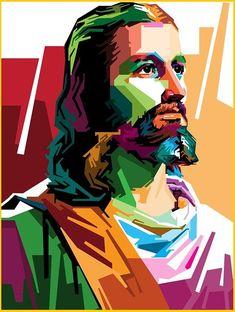Jesus Christ Painting, Jesus Art, Christian Images, Christian Art, Jesus Drawings, Lord Ganesha Paintings, Jesus Christ Images, Composition Art, Polygon Art