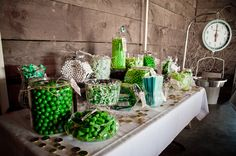 green candy bar- I already have apothecary jars (5) and a cake stand. Need glass plates/serveware, spoons