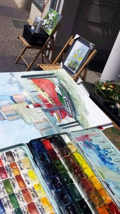 Das war – Kunst Offen 2015 in der Doberaner Galerie Severina   Aquarelle entstehen während Kunst Offen vor der Galerie Severina (c) Frank Koebsch