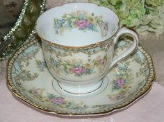 Noritake China Rosario Blue Yellow Demitasse Cup and Saucer
