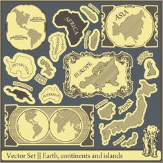 Retro Earth,continents and islands labels vector 01