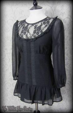 Romantic Victorian Black Lace Bib Ruffle Top 10 Elegant Goth Vintage Victoriana | THE WILTED ROSE GARDEN