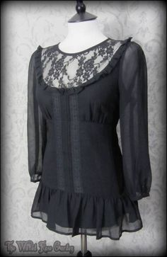 Romantic Victorian Black Lace Bib Ruffle Top 10 Elegant Goth Vintage Victoriana | THE WILTED ROSE GARDEN